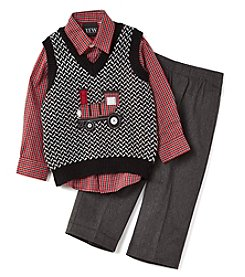 TFW® Baby Boys' 3-Piece Train Sweater Vest Set