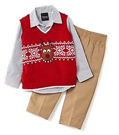 TFW® Baby Boys' 3-Piece Reindeer Sweater Vest Set