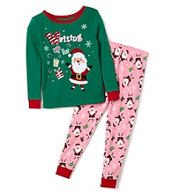 Komar Kids® Girls' 2T-4T 2-Piece Waiting For Santa Pajama Set