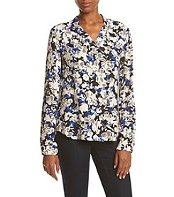 Nine West® Printed Patch Pocket Blouse