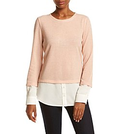 Calvin Klein Lurex Two-For Layered Look Top
