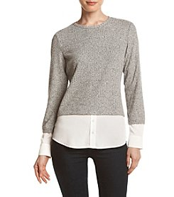 Calvin Klein Marled Two-For Layered Look Top