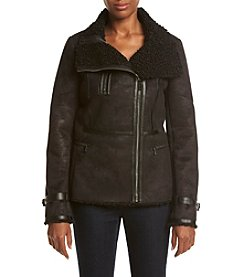 Calvin Klein Shearling Jacket With Faux Leather Piping