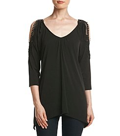 Relativity® Cold Shoulder Sharkbite Blouse