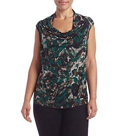 Kasper® Plus Size Printed Drape Neck Top