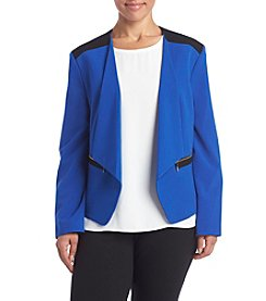 Nine West® Plus Size Stretch Crepe Kiss Front Jacket