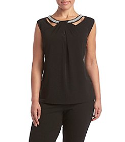 Nine West® Plus Size Criss Cross Neck Top