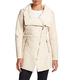 Jessica Simpson Walker Rose Faux Fur Trim Coat