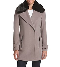 Calvin Klein Asymmetrical Notch Coat With Faux Fur Collar