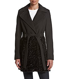 Calvin Klein Mixed Media Belted Coat