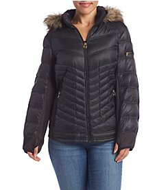 MICHAEL Michael Kors® Plus Size Short Embossed Coat With Hood