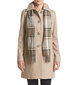 London Fog® Petites' Scarf Coat