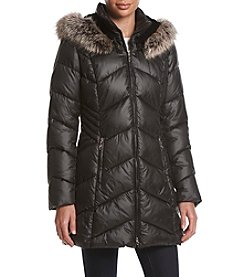 Gallery® Chevron Seamed Coat With Faux Fur Trim Hood