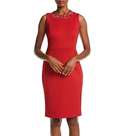 Calvin Klein Embellished Neckline Scuba Sheath Dress