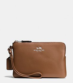 COACH BOXED CORNER ZIP WRISTLET IN SMOOTH CALF LEATHER