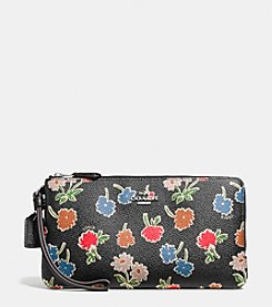 COACH DOUBLE ZIP WALLET IN DAISY FIELD COATED CANVAS