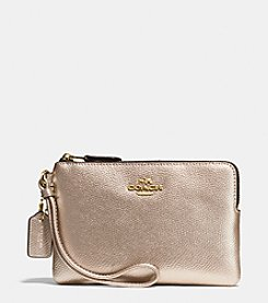 COACH BOXED CORNER ZIP WALLET IN METALLIC LEATHER