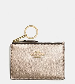 COACH BOXED MINI ID SKINNY CASE IN METALLIC LEATHER
