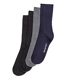 HUE® 4 Pack Ribbed Dress Sock