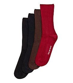 HUE® 4 Pack Ribbed Dress Socks
