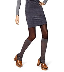 HUE® Cheveron/Opaque Boot Sweater Tights