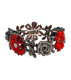 Erica Lyons® Scarlett Letter Stretch Flower Bracelet