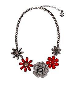 Erica Lyons® Scarlett Letter  Flower Front Necklace