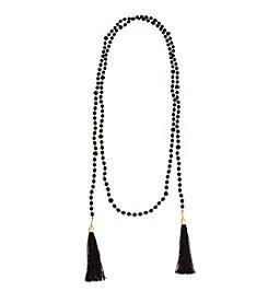 Erica Lyons® Long Double Tassel Necklace