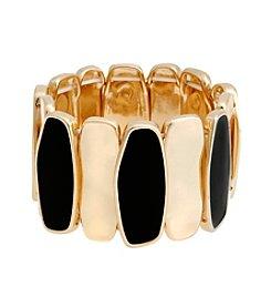 Erica Lyons® Goldtone and Jet Wide Stretch Bracelet