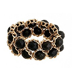 Erica Lyons® Bead and Chain Double Row Stretch Bracelet