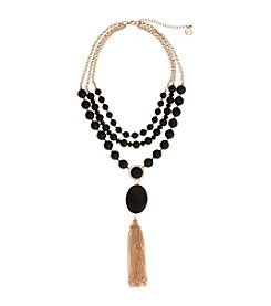 Erica Lyons® Jet and Goldtone Statement Necklace