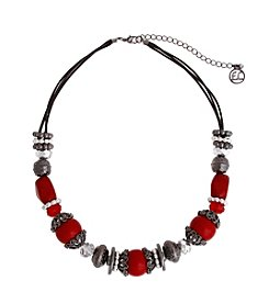 Erica Lyons® Scarlett Letter Mixed Bead Front Necklace