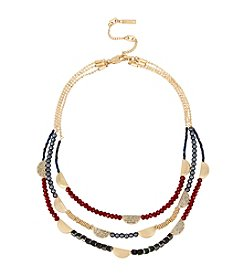 Kenneth Cole® Pave Mixed Bead Multi Row Necklace