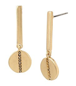 Kenneth Cole® Pave Disc Bar Drop Earrings