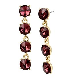 Kenneth Cole® Burgundy Faceted Stone Linear Earrings