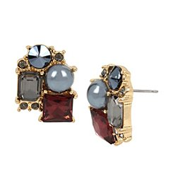 Kenneth Cole® Mixed Faceted Stone and Pearl Cluster Stud Earrings