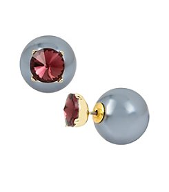 Kenneth Cole® Faceted Stone & Pearl Front to Back Earrings