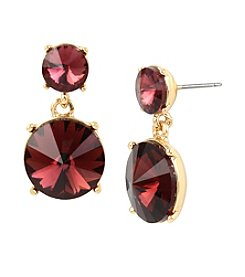 Kenneth Cole® Double Burgundy Faceted Stone Drop Earrings