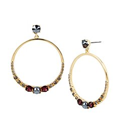 Kenneth Cole® Mixed Faceted Stone Hoop Earrings