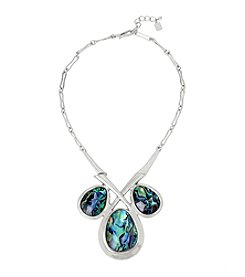 Robert Lee Morris Soho™ Abalone Faceted Stone Geometric Frontal Necklace