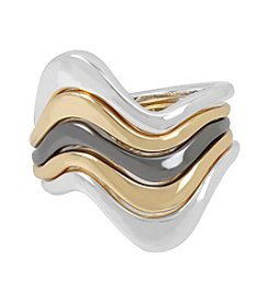 Robert Lee Morris Soho Wavy Sculptural Ring Set