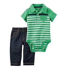 Carter's® Baby Boys' 2-Piece Polo Bodysuit and Jeans Set