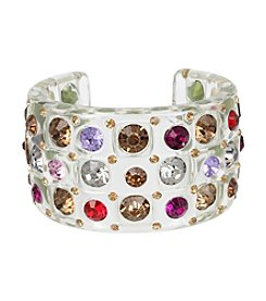 Betsey Johnson® Mixed Stone Lucite Wide Cuff Bracelet