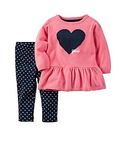Carter's® Baby Girls' 2-Piece Heart You Peplum Sweater and Leggings Set