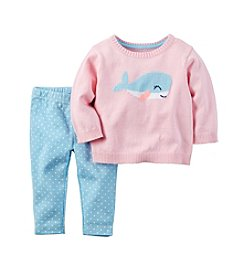 Carter's® Baby Girls' 2-Piece Whale Sweater And Leggings Set