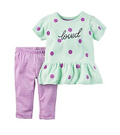 Carter's® Baby Girls' 2-Piece Loved Peplum Sweater And Leggings Set