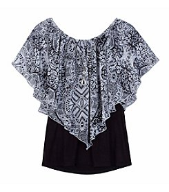 Amy Byer Girls' 7-16 Printed Popover Top