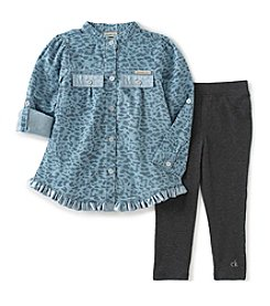 Calvin Klein Jeans Girls' 2T-4T 2-Piece Cheetah Tunic and Leggings Set