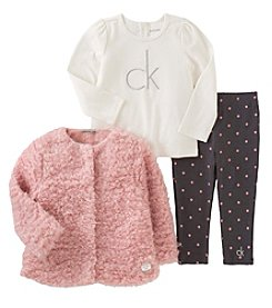 Calvin Klein Jeans Girls' 2T-4T 3-Piece Curly Jacket Set