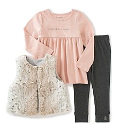 Calvin Klein Jeans Girls' 2T-4T 3-Piece Faux Fur Vest Set